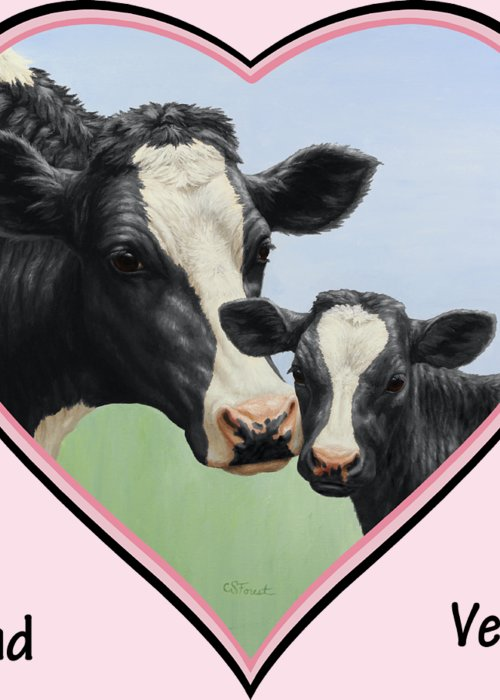 Cow And Calf Greeting Cards