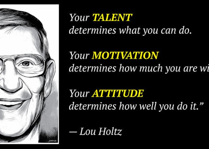 Lou Holtz Greeting Card featuring the digital art Holtz Quote by Greg Joens