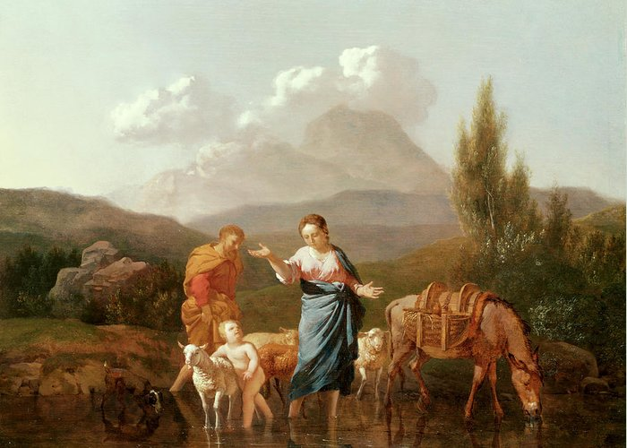 Holy Family At A Stream (oil On Canvas) By Karel Dujardin (c.1622-78) Greeting Card featuring the painting Holy Family At A Stream by Karel Dujardin