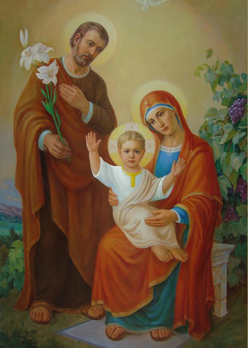 Jesus Greeting Card featuring the painting Holy Family With The Vine Tree by Svitozar Nenyuk