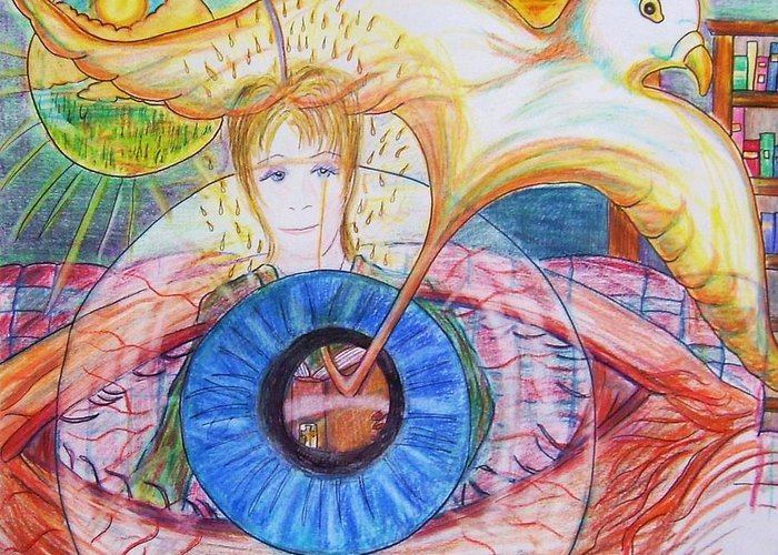Holy Ghost Greeting Card featuring the drawing Holy Ghost Shining Eyes by Richard Hubal
