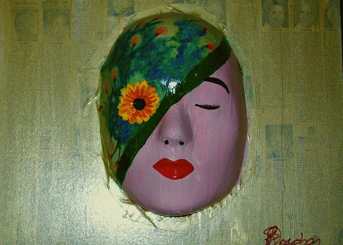 Gold Greeting Card featuring the painting Homage One by Laurette Escobar