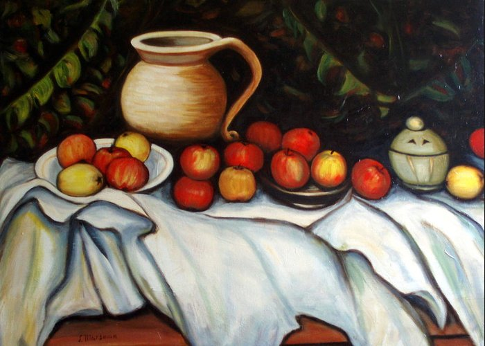 Still Life Greeting Card featuring the painting Homage To Cezanne by Lia Marsman
