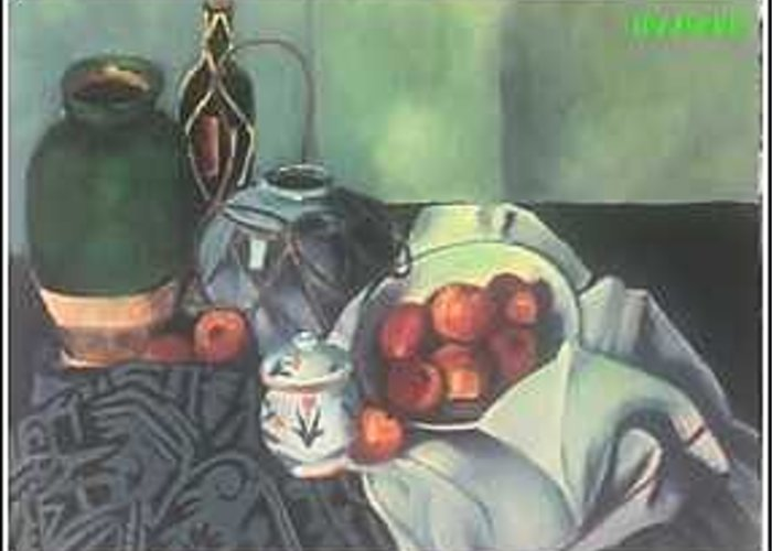 Still Life With Apples Greeting Card featuring the painting Homage To Cezanne by Steven Casey