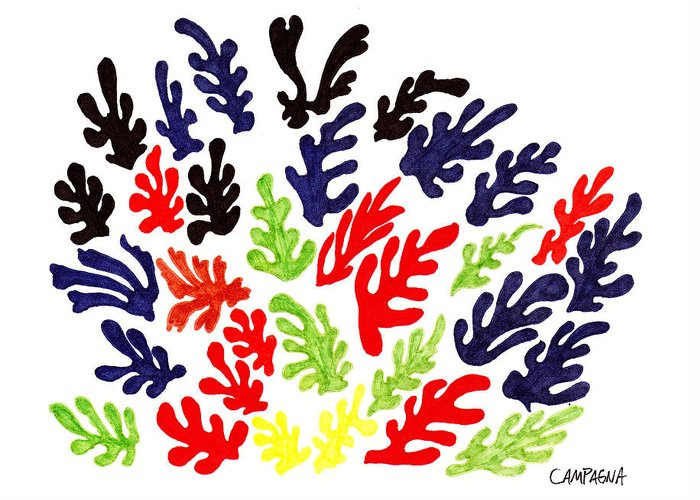 Marker Greeting Card featuring the drawing Homage To Matisse by Teddy Campagna