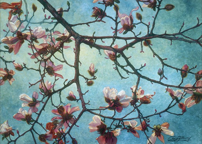 Blossoms Greeting Card featuring the painting Homage To Vincent by Craig Gallaway
