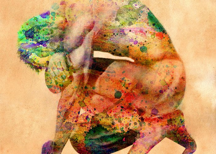 Male Nude Greeting Card featuring the digital art Hombre Triste by Mark Ashkenazi