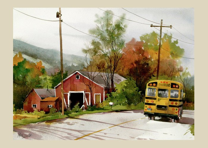 School Bus Rural Scene Greeting Card featuring the painting Home Bus by Art Scholz