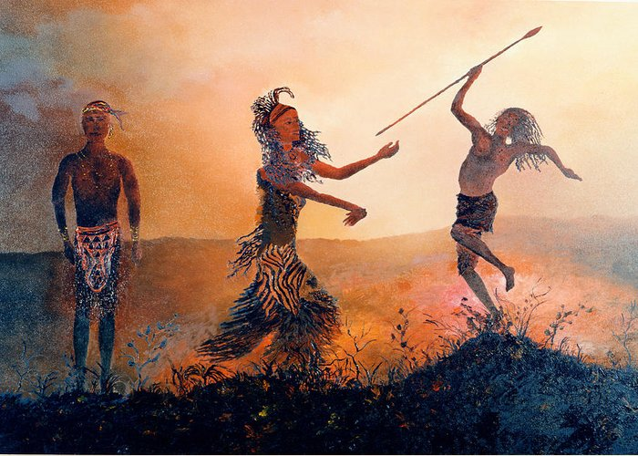 Africa Greeting Card featuring the painting Home Comeing by Richard Barham