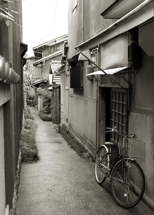 Bicycle Greeting Card featuring the photograph Home In Kyoto by Jessica Rose