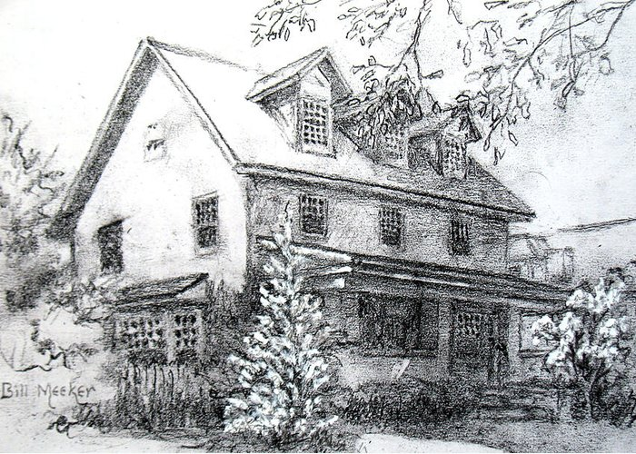 Graphite Sketch Greeting Card featuring the drawing Home In North Joplin by Bill Meeker