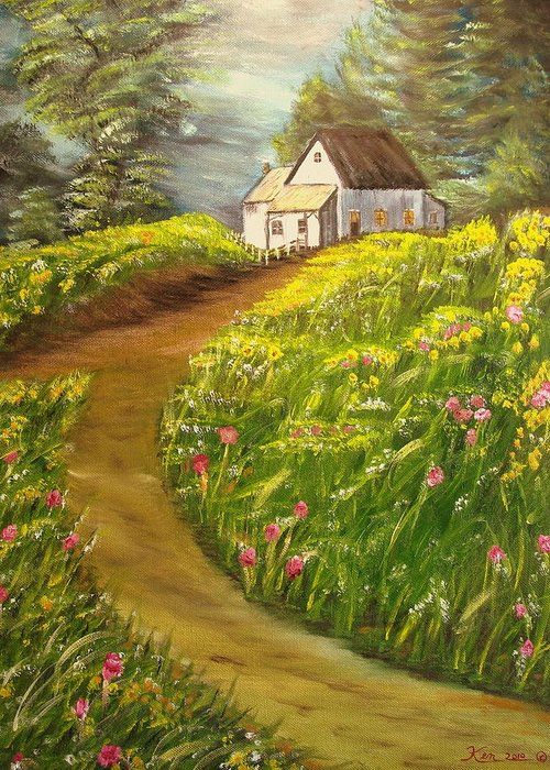 Landscape Greeting Card featuring the painting Home in Springtime by Kenneth LePoidevin
