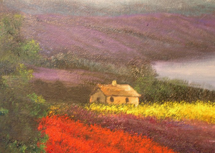 Connie Tom Greeting Card featuring the painting Home In The Hills Of Tuscany by Connie Tom