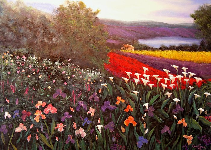 Connie Tom Greeting Card featuring the painting Home In Tuscany by Connie Tom