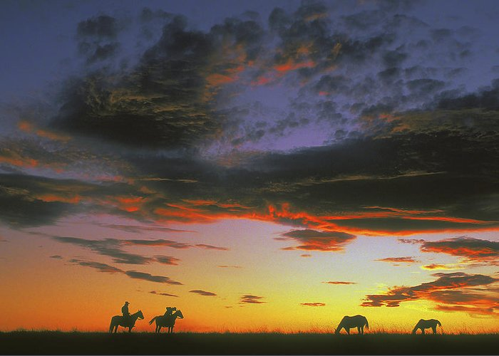 Cowboys Greeting Card featuring the photograph Home On The Range by Carl Purcell