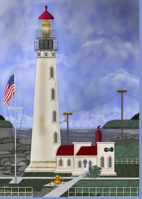 Lighthouse Greeting Card featuring the painting Home Port by Anne Norskog