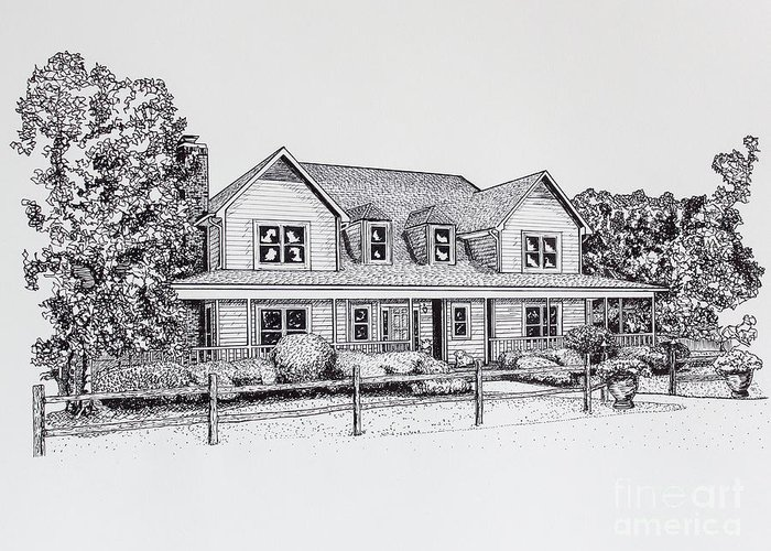 Home Greeting Card featuring the drawing Summer Villa 2015 by Robert Yaeger