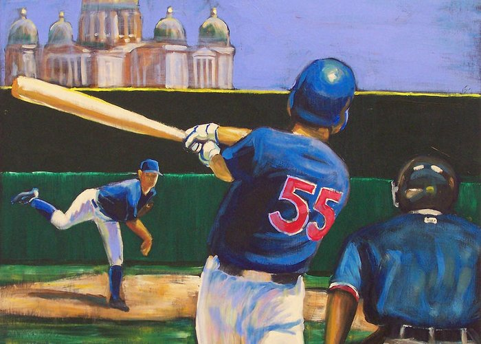 Iowa Greeting Card featuring the painting Home Run by Buffalo Bonker