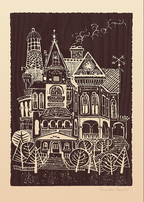 House Greeting Card featuring the drawing Home Sweet Home by Ernestine Grindal