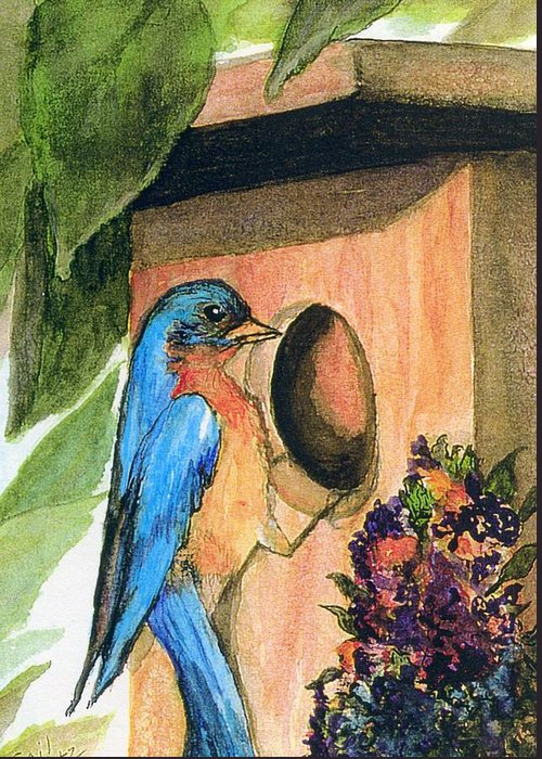 Bluebirds Greeting Card featuring the painting Home Sweet Home by Gail Kirtz