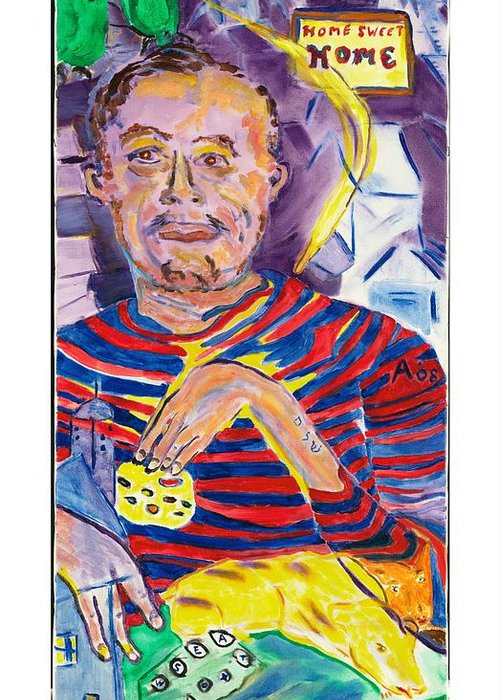 Home Greeting Card featuring the painting Home Sweet Home Self Portrait The First by Red Jordan Arobateau