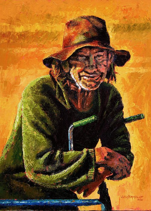 Homeless Man With Bike Greeting Card featuring the painting Homeless by John Lautermilch