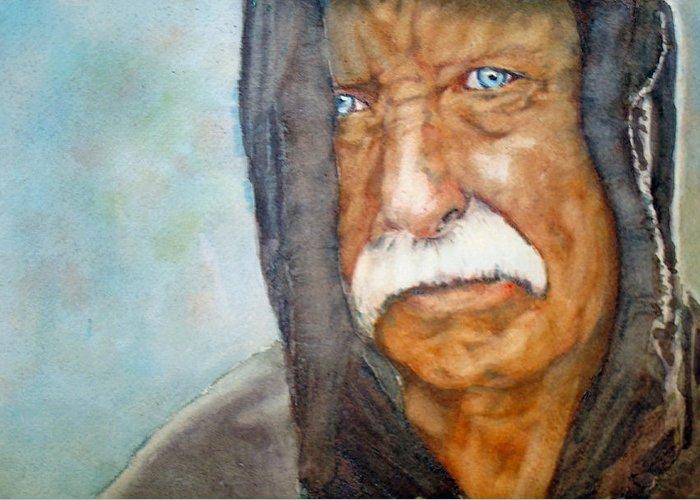 Vietnam Greeting Card featuring the painting Homeless Vietnam Veteran by Kerra Lindsey