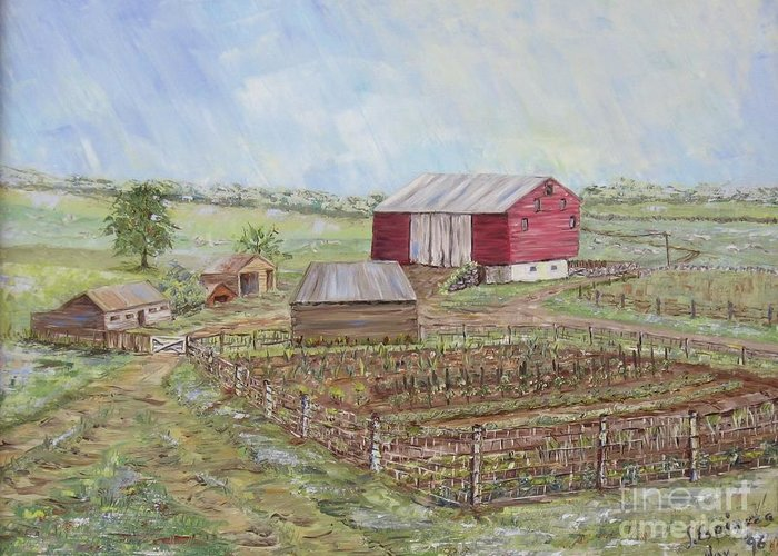 Red Barn With Several Other Small Sheds; Garden In Foreground; Landscape Greeting Card featuring the painting Homeplace - The Barn And Vegetable Garden by Judith Espinoza