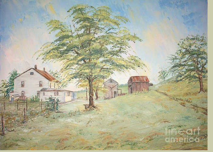 White House; 2 Sheds; Green Tree In Foreground; Set Of 4 Homeplace Prints For $100.00 Greeting Card featuring the painting Homeplace - The Farmhouse by Judith Espinoza