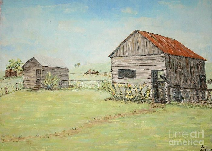 2 Small Sheds; Light Green Yard; Old Buildings Greeting Card featuring the painting Homeplace - The Smokehouse And Woodhouse by Judith Espinoza