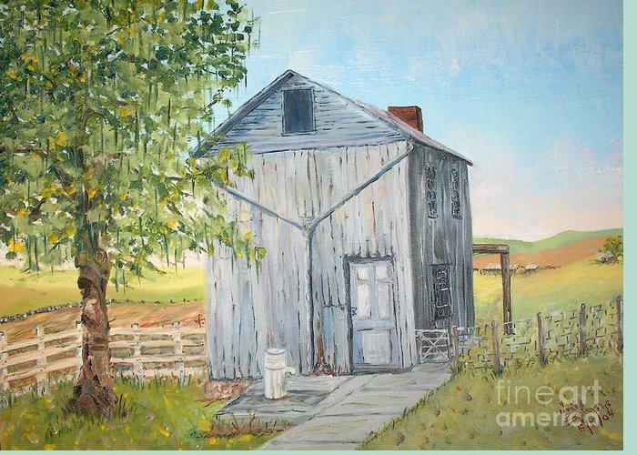Old Gray Building Beside Green Tree; 2 Kinds Of Fence Greeting Card featuring the painting Homeplace - The Washhouse by Judith Espinoza