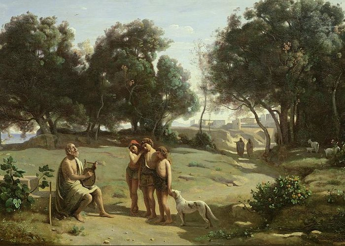 Homer Greeting Card featuring the painting Homer And The Shepherds In A Landscape by Jean Baptiste Camille Corot