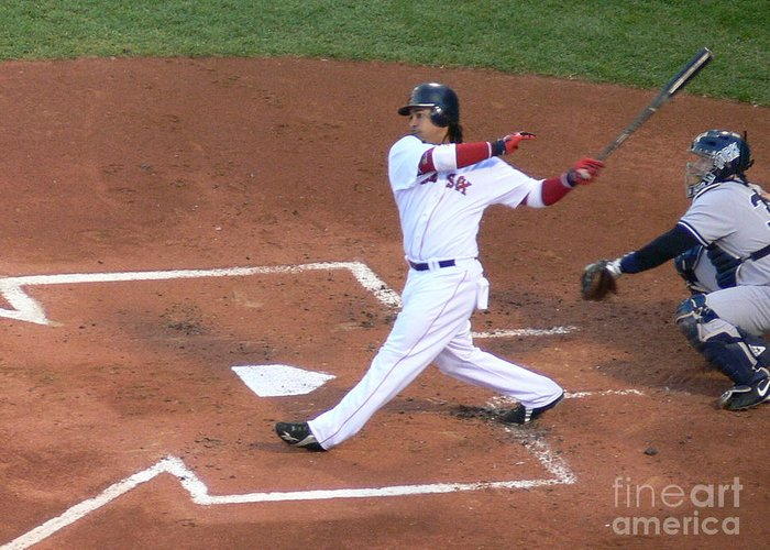 Manny Greeting Card featuring the photograph Homerun Swing by Kevin Fortier
