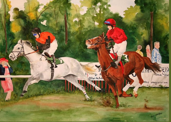 Racing Greeting Card featuring the painting Homestretch by Jean Blackmer