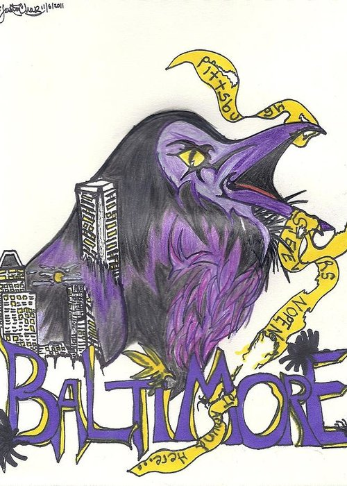 Ravens Greeting Card featuring the drawing Hometeam by Justin Chase