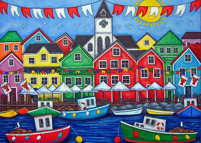 Boats Canada Colorful Docks Festival Fishing Flags Green Harbor Harbour Greeting Card featuring the painting Hometown Festival by Lisa Lorenz