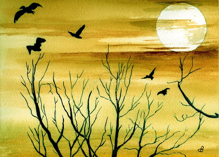 Landscape Watercolor Birds Ravens Crows Trees Sun Sunset Sky Clouds Greeting Card featuring the painting Homeward by Brenda Owen