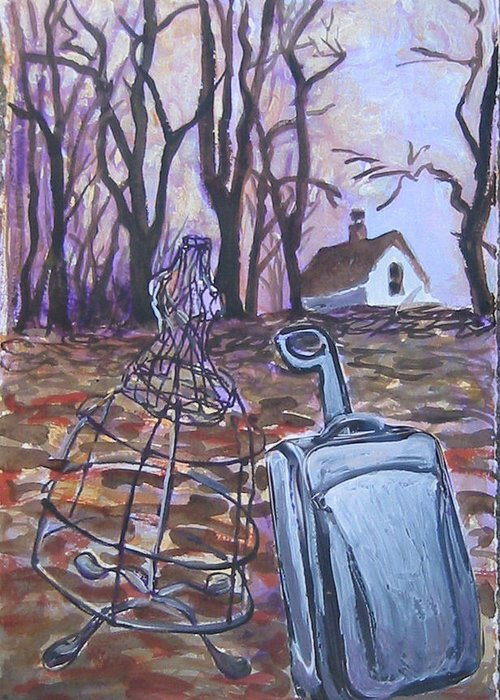 Suitcase Greeting Card featuring the painting Homeward Trek by Tilly Strauss