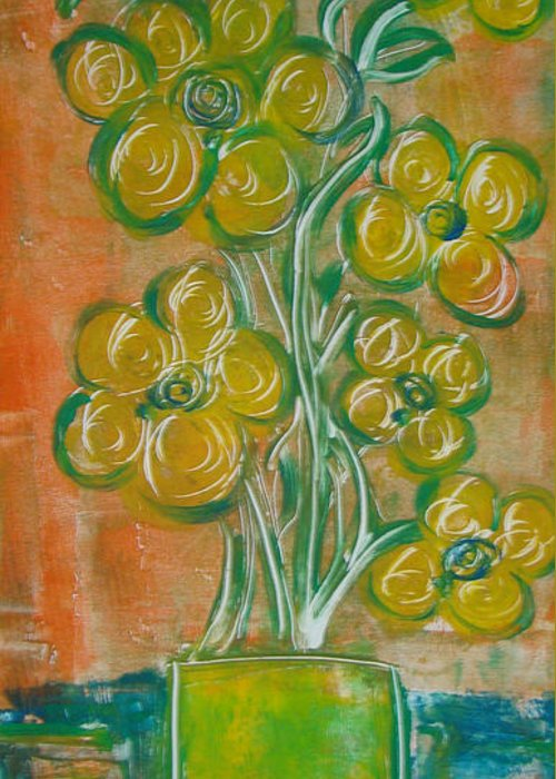 Flowers Greeting Card featuring the painting Homey by Hannah Lasky