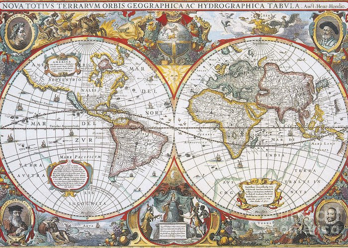 Map Greeting Card featuring the photograph Hondius World Map, 1630 by Photo Researchers