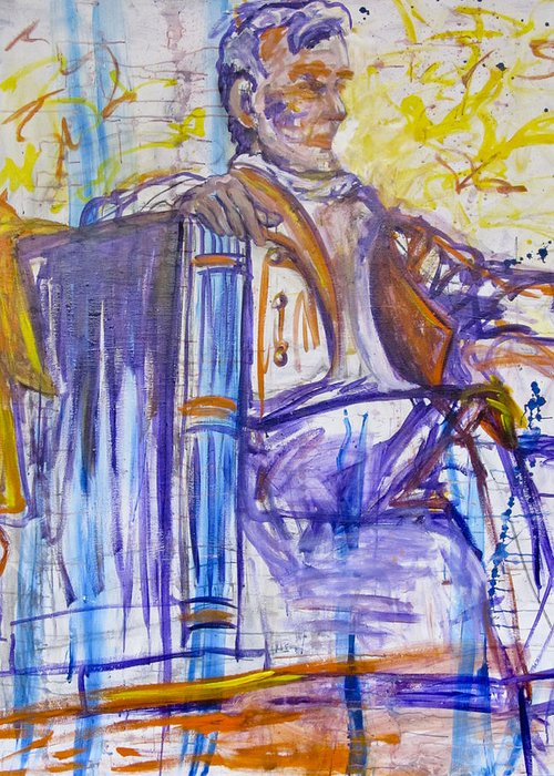 Abstract Painting Of The Lincoln Monument Greeting Card featuring the painting Honestly Abe Those Colors Don't Go by MG Stout