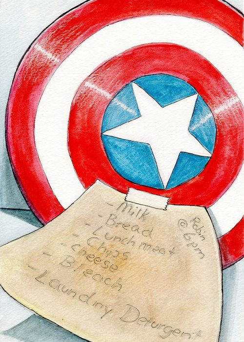 Avengers Greeting Card featuring the painting 'honey Do' List by Kenya Thompson