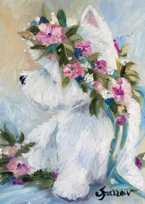 Westie Greeting Card featuring the painting Honey by Mary Sparrow