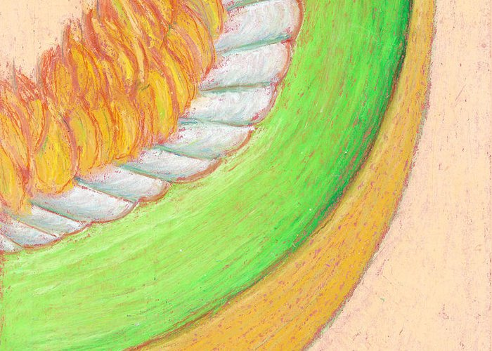 Honeydew Greeting Card featuring the pastel Honeydew by Dawn Marie Black