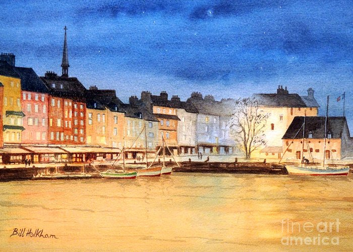 Honfleur Greeting Card featuring the painting Honfleur Evening Lights by Bill Holkham