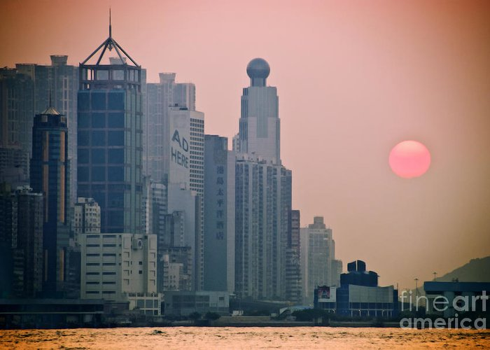 Architectural Art Greeting Card featuring the photograph Hong Kong Island by Ray Laskowitz - Printscapes