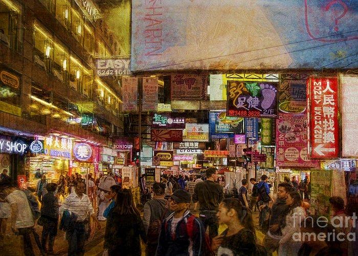 Hong Kong Greeting Card featuring the photograph Hong Kong Streets by Stuart Row