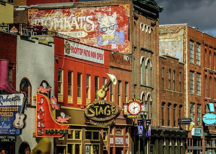 Honky Tonk Row - Nashville Tn Greeting Card featuring the photograph Honky Tonk Row - Nashville Tn by Debra Martz