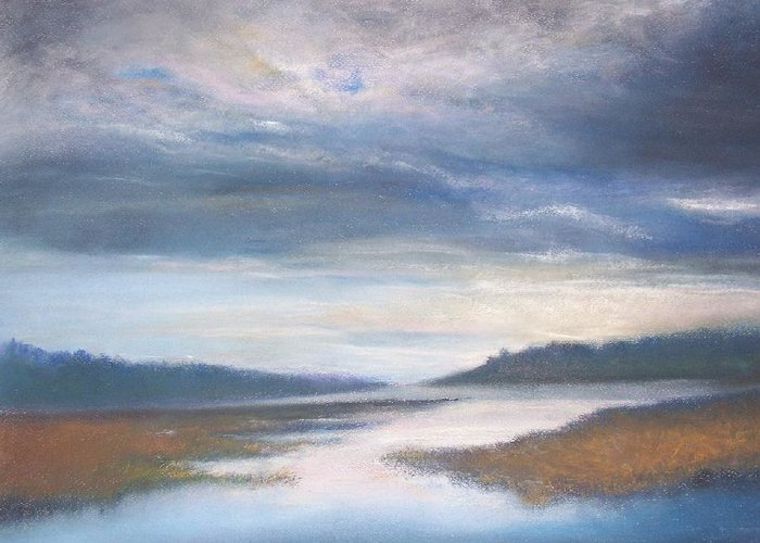 Landscape Greeting Card featuring the pastel Hood Canal - High Tide by Jackie Bush-Turner