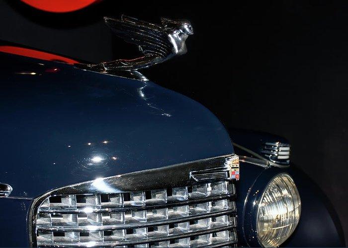 Automotive Photography Greeting Card featuring the photograph Hood Ornament-1938 Cadillac V-16 Town Sedan by John Bartelt
